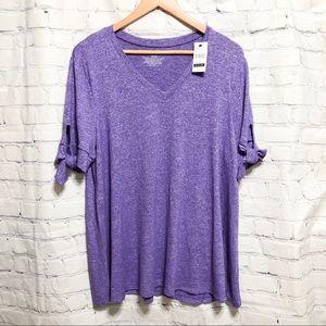 Lane Bryant purple top with tie sleeves